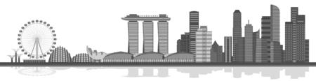 singapore skyline: Singapore city skyline. City singapore, skyline singapore architecture singapore. Vector illustration Illustration