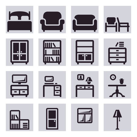 furniture: Furniture vector icons.Table furniture, chair furniture, bed furniture, interior illustration