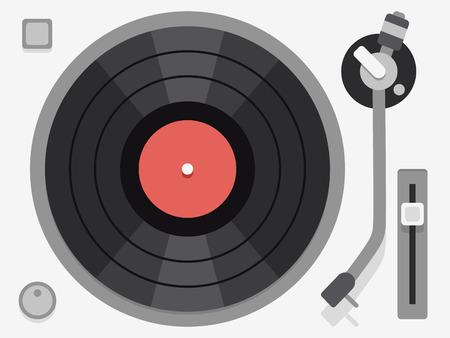 turntable: Vinyl turntable. Flat vector illustration. Audio vinyl turntable, vinyl turntable device, music vinyl turntable Illustration