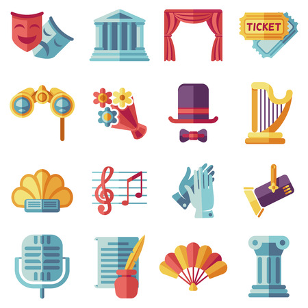 acting: Theatre acting performance flat icons set. Drama performance theater, comedy performance theater, curtain and mask, tragedy performance theater. Vector illustration
