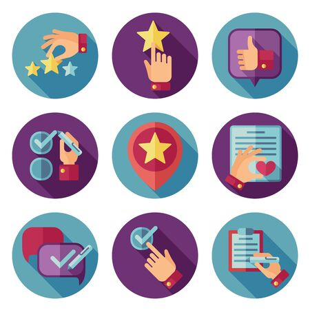 circle icon: Customer service flat vector icons set. Customer icon, service customer icon, comment writing customer illustration