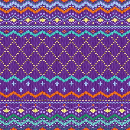 sueter: Suéter que hace punto del patrón sin fisuras. Vector de tejer Backgraund