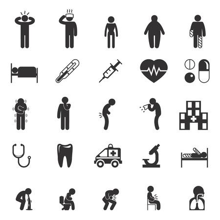 Icone malato. I malati vettore pittogrammi. set di icone Sick, segno malato e malato, malato icona