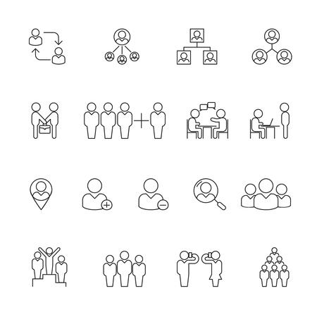 resource management: Human management icons. Human resource management thin line icons. Human resource organization, teamwork human resource, team human resource. Vector illustration Illustration