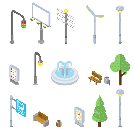 fountains: Isometric city street icons. Vector 3d street urban objects. Street icon city, isometric street urban, tree street isometry icon illustration