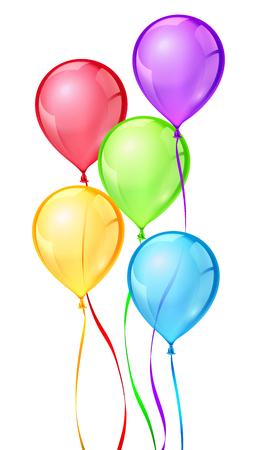 helium balloon: Vector color birthday party balloons. Balloon birthday, celebrate bithday, balloon air ribbon, helium balloon rubber, ball air illustration Illustration