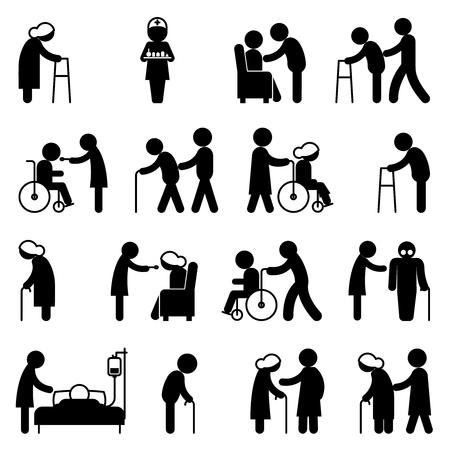 장애 사람 간호 및 장애인 건강 관리 아이콘. 장애인이 장애인을 도와 환자, 휠체어 장애인, 벡터 일러스트 레이 션