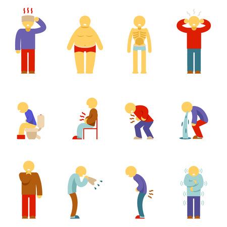 Icone persone malate. I sintomi della malattia persone pittogrammi. L'uomo la malattia, l'uomo la malattia, icona del dolore, problema malato, mal di testa malato. illustrazione di vettore