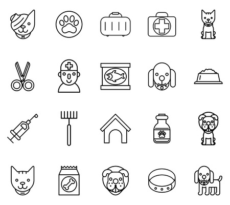 doctor fish: Veterinary line icons. Pets veterinary thin line signs. Pet and veterinary, dog veterinary, cat veterinary. Vector illustration