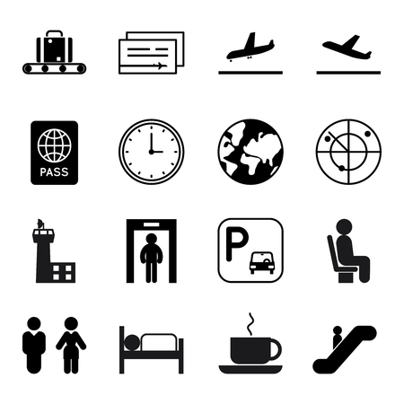 air travel: Airport and traveling vector icons. Airport travel icon, airplane travel icon, globe and luggage icon, transportation air icon illustration Illustration