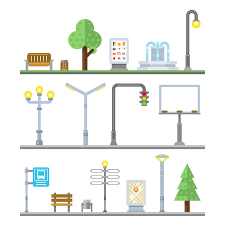Urban landscape icons. Traffic lights and lanterns, bench and fountain street elements. Icon urban element, billboard urban, lamppost urban, signboard and irban advertisement, vector illustration Vettoriali