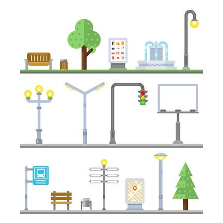 Miejskie ikony krajobraz. Sygnalizacja świetlna i latarnie, ławki i elementy fontann ulicznych. Ikona elementem miejskiego, billboard miejskich, latarni miejskich, szyld i irban reklama, ilustracji wektorowych