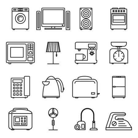 home equipment: Thin line home appliances icons, household outline icons. Stroke vector household appliances signs.. Appliance household, machine equipment appliance, kitchen appliance illustration