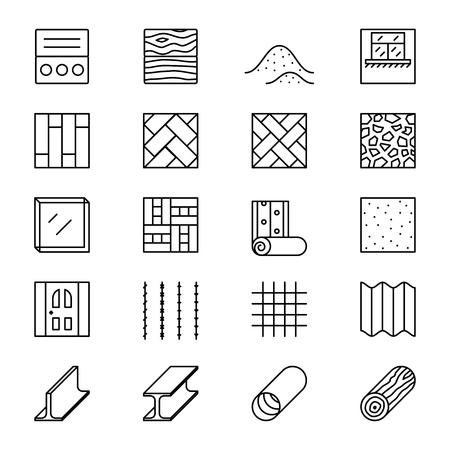 Materiali da costruzione in fila icone vettoriali. Materiali da costruzione, materiale elemento pittogramma, i materiali oggetto illustrazione lineare