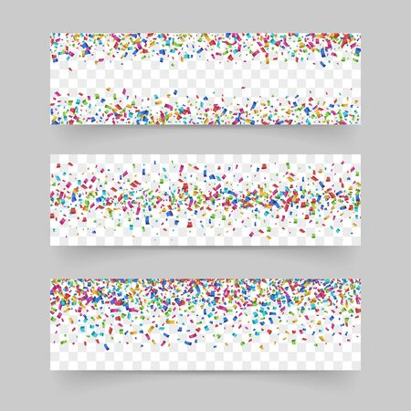 Falling tiny confetti on transparent background. Confetti background set Vectores