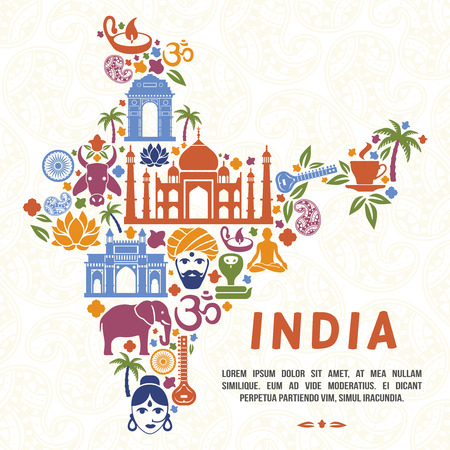 india culture: Traditional Indian symbols in the form of India map. India traditional, indian culture, india country, vector illustration