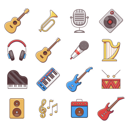 pianoforte: Linear music instruments vector color flat icons. Instrument musical, equipment instrument, audio acoustic instrument illustration