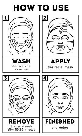Come utilizzare la maschera facciale foglio. Vector bellezza e l'istruzione di cura. Cura estetica, maschera viso, maschera facciale, maschera crema illustrazione Archivio Fotografico - 58736747