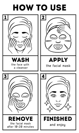 How to use facial sheet mask. Vector beauty and care instruction. Care cosmetic, mask face, mask facial, cream mask illustration Vettoriali