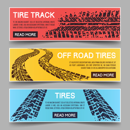 skid: Tire tracks vector banners set. Banner tire track, dirty messy track banner, mud trail track banner illustration