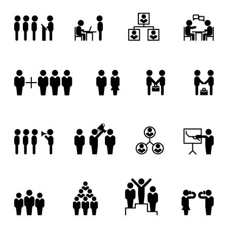 Comerciales y de gestión iconos. De gestión y de recursos humanos del vector iconos. la gestión de la contratación, la comunidad de administración de personal, gestión de negocios ilustración
