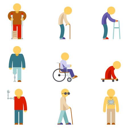 Disability vlakke pictogrammen. Mensen met een handicap platte borden. Gehandicapte patiënt, helpen mensen met een handicap, gehandicapte, vector illustratie