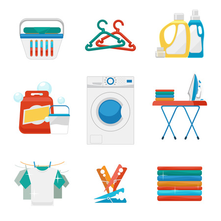 cleaning cloth: Laundry flat icons. Washing and laundry signs. Laundry clean icon, laundry machine, appliance washing and laundry. Vector illustration