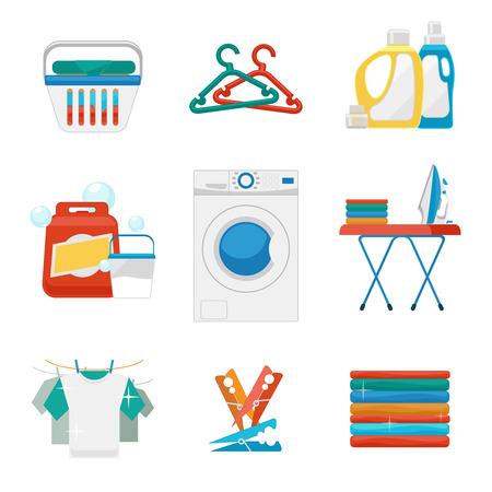 gospodarstwo domowe: Pralnia płaskie ikony. Prania i prania znaki. Pralnia czyste ikona, pralka, mycie urządzenia i pralnia. ilustracji wektorowych
