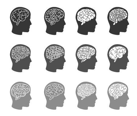 prodigy: Think icons. Thinking brain in human head icons. Human head, brain human, mind human intelligence, vector illustration Illustration