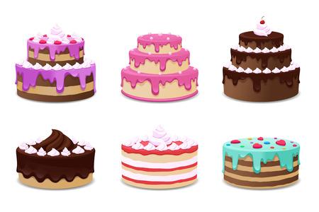 Ciasta wektor zestaw. Ciasta ikony na białym tle. Tort urodzinowy, żywności tort, ciasto ilustracji Ilustracje wektorowe