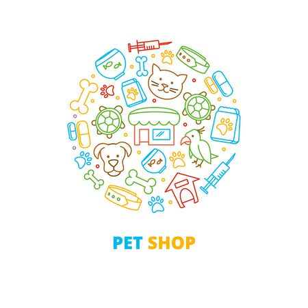 forms: Pet shops, veterinary clinics and homeless animals shelters vector line icons in circle design. Turtle and parrot pet, fish pet,  pet shop illustration Illustration