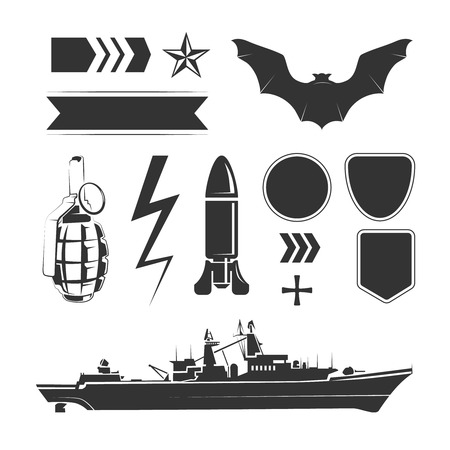 airforce: Vector elements for army, airforce and navy patches and labels. Force air army, design military army, navy army element illustration
