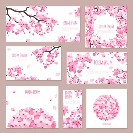 flor de cerezo: Las tarjetas de felicitación de plantilla de vectores con el florecimiento de sakura en blanco Vectores