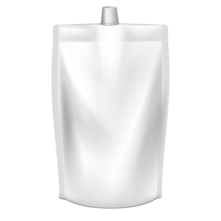 spout: Doypack vector. Blank doy pack with spout lid. Liquid product doypack, template doypack with lid, clear container doypack illustration