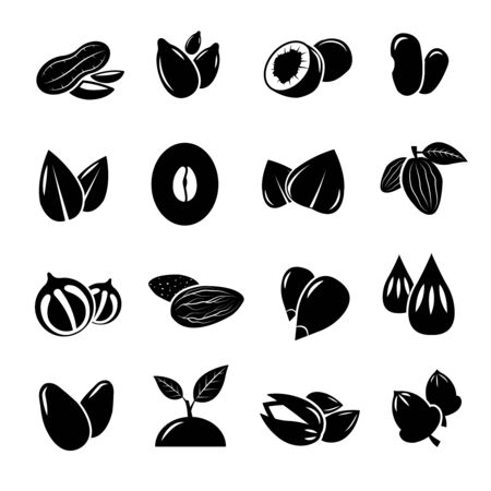 seeds: Nut and seed black vector icon. Nut, food, natural seed, nutrition nuts ingredient, icon seed and nuts organic illustration