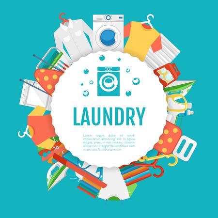 servicio domestico: Diseño del cartel del servicio de lavandería. Servicio de lavandería etiqueta iconos de círculo con texto. Servicio y lavandería, máquina de lavado de ropa, ropa de electrodomésticos. ilustración vectorial