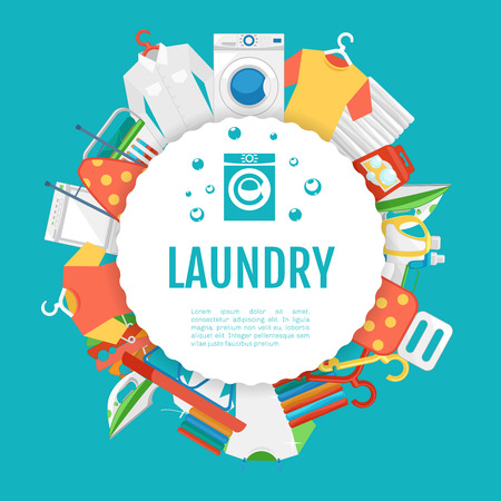 Laundry service poster design. Laundry icons circle label with text. Service and laundry, machine wash laundry, household appliance laundry. Vector illustration Stock Illustratie