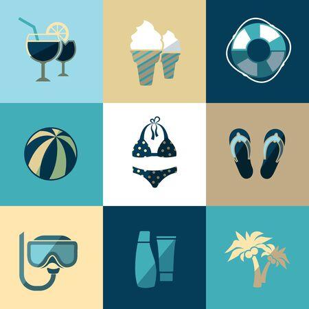 holiday vacation: Summer vacation and beach flat vector icons. Vacation travel, holiday, tourism vacation beach, icon vacation illustration