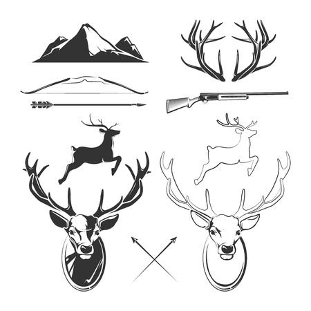 animal head: Deer head vector elements constructor for vintage hunting and hipster labels. Animal deer, horn deer and gun, reindeer head, label deer vintage illustration Illustration