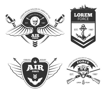 Military, armored vehicles, airforce, navy vintage vector labels, emblems set. Navy and airforce emblem, vintage label navy and airforce, navy, banner airforce insignia illustration Vetores