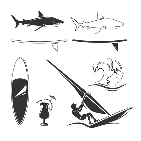wave surfing: Vector elements for surfing labels and emblems. Badge surfing, vintage swim surfing, wave surfing illustration