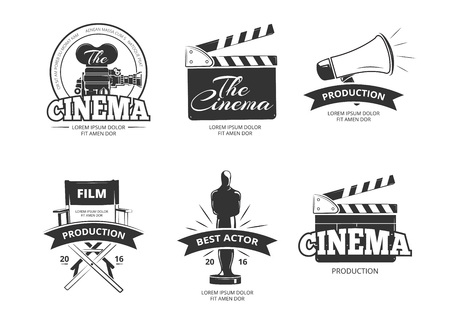 video icons: Cinema vector vintage labels, emblems, badges set. Cinema emblem and badge, label cinema, camera cinema illustration