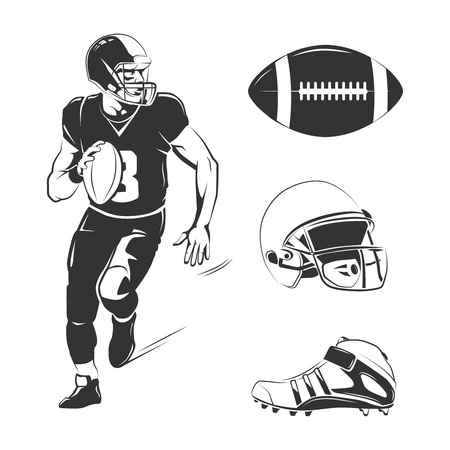american sport: Vector elements for american football labels, badges and emblems. Football american sport, competition rugby, american football equipment illustration