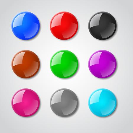 color reflection: Color pin magnet vector set. Button pin magnet, reflection pin magnet, element pin magnet set illustration
