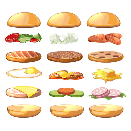 ingredient: Burgers ingredients. Vector fastfood set in cartoon style. Burger food, hamburger ingredient, sandwich ingredient, cheeseburger ingredient illustration