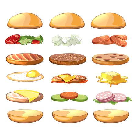 comiendo pan: Hamburguesas ingredientes. fastfood conjunto de vectores en el estilo de dibujos animados. comida hamburguesa, hamburguesa ingrediente, ingrediente sándwich, hamburguesa ingrediente ilustración