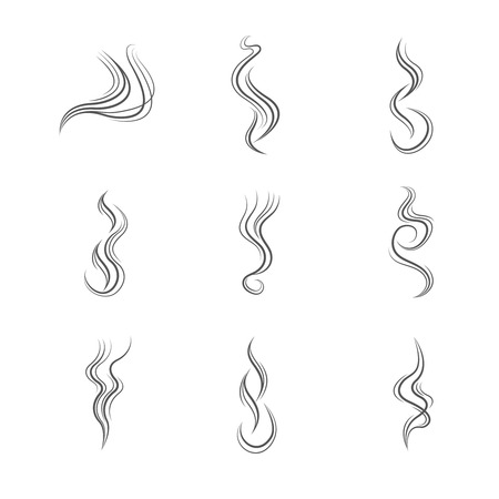 Smoke lines vector set. Smoke line, flow smoke, abstraction smoke smooth illustration