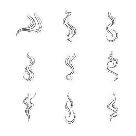 Smoke lines vector set. Smoke line, flow smoke, abstraction smoke smooth illustration