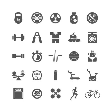 sports activity: Fitness, sports, gym vector black icons set. Sport gym icon, fitness sport icon, dumbbell and sport diet, health activity icon illustration