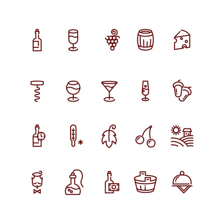 sommelier: Wine and sommelier line vector icons. Wine glass icon,  wine outline element, wineglass beverage, wine bottle illustration